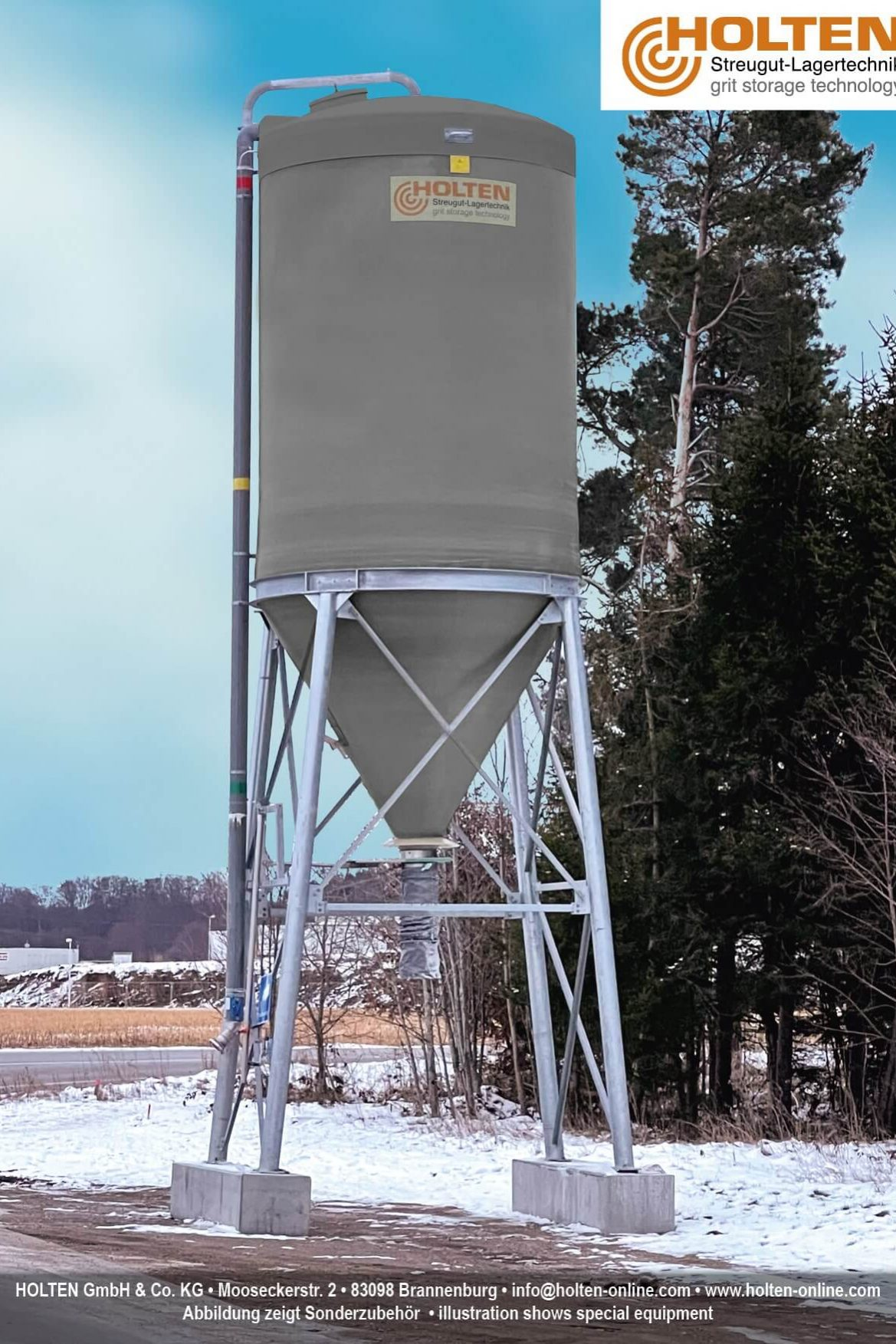 Mobiles Silo in kombinierter GFK-Stahl Bauweise im Winter