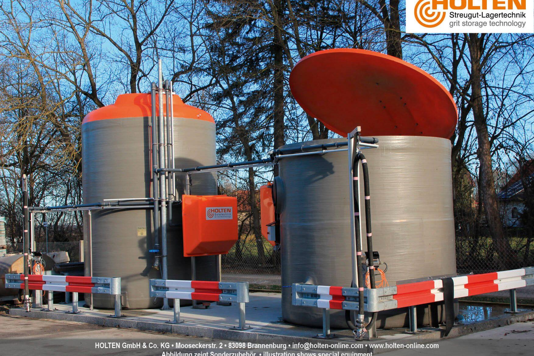 Zwei miteinander verbundene Soleerzeuger B3 auf einem Firmengelände
