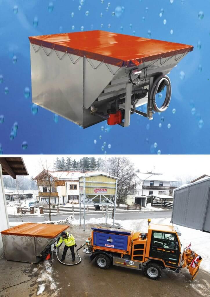 Aufgebauter Soleerzeuger B4 auf einem Firmengelände mit einem Silo im Winter