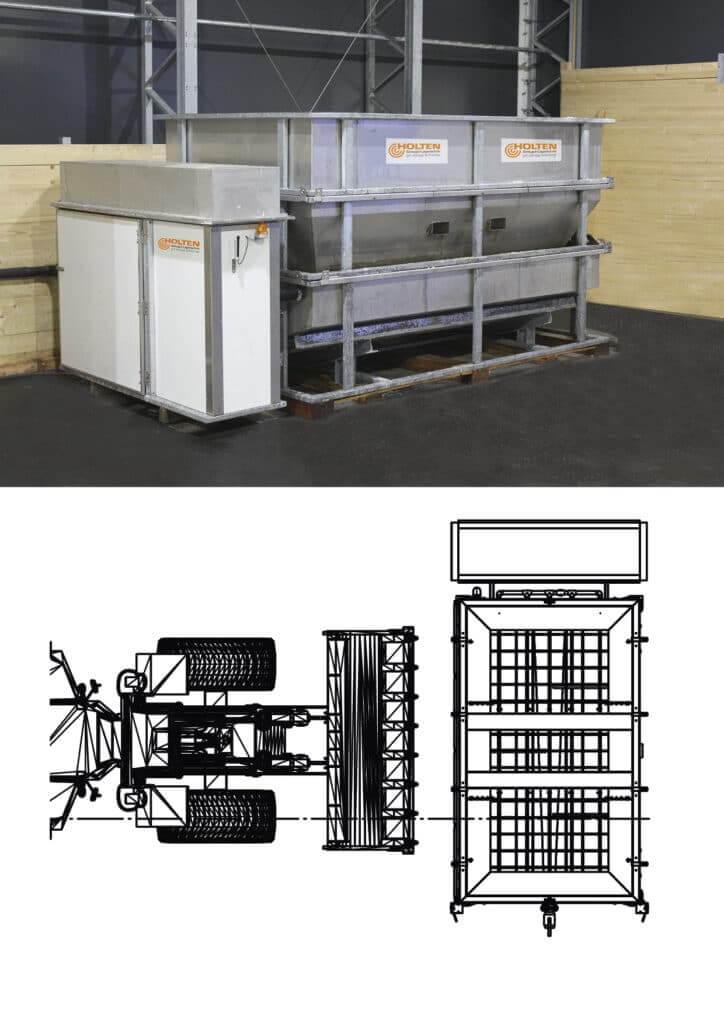 Vollständig aufgebauter Soleerzeuger B6 mit Konstruktionszeichnung