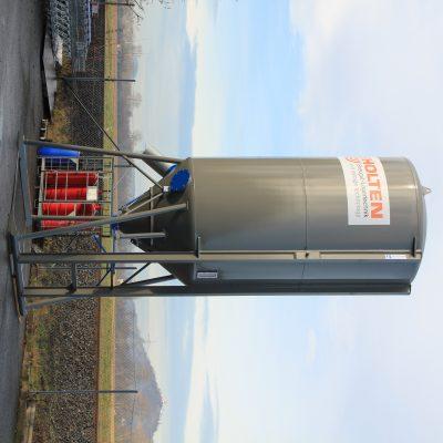Aufnahmeschienen zum Transport eines mobilen Silos aus Stahl 23m³